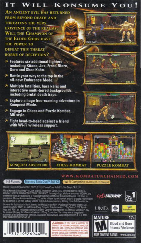 Mortal Kombat Unchained Box Shot For Psp Gamefaqs