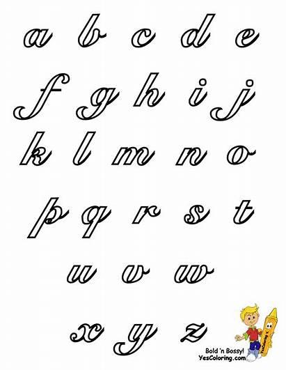 Cursive Alphabet Coloring Pages Letters Chart Lowercase
