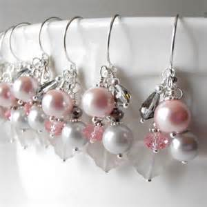 bridesmaid gifts jewelry pink bridesmaid earrings pink and gray bead clusters dangle earrings beaded bridesmaid jewelry