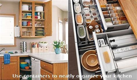 containers  neatly organize  kitchen