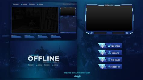 cheap twitch stream overlay  package blue