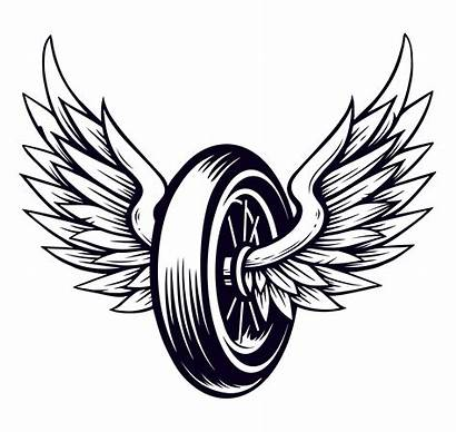 Wings Motorcycle Wheel Vector Clipart Winged Graphics