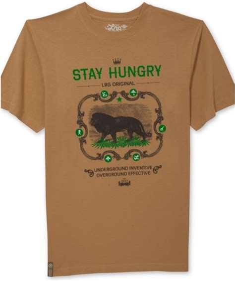 tshirt stay hungry lrg stay hungry tshirt in brown for camel lyst