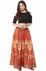 Buy Womenu0026#39;s Digital Printed Banglori Silk Skirt with Crop-Top Online