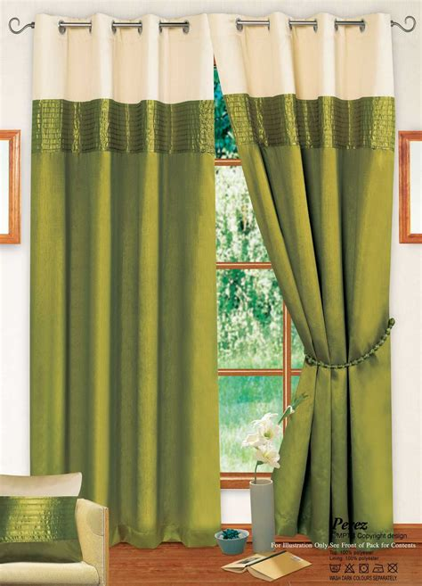 stylish 2 tone ring top eyelet lined curtains faux silk