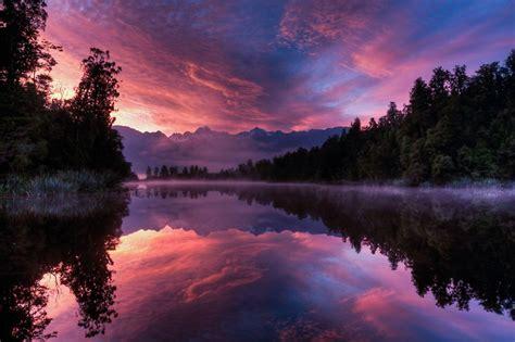 quot lake matheson sunrise fox glacier new zealand quot stickers by luke chapman redbubble