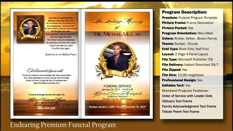 obituary template forms printable programs vlogger