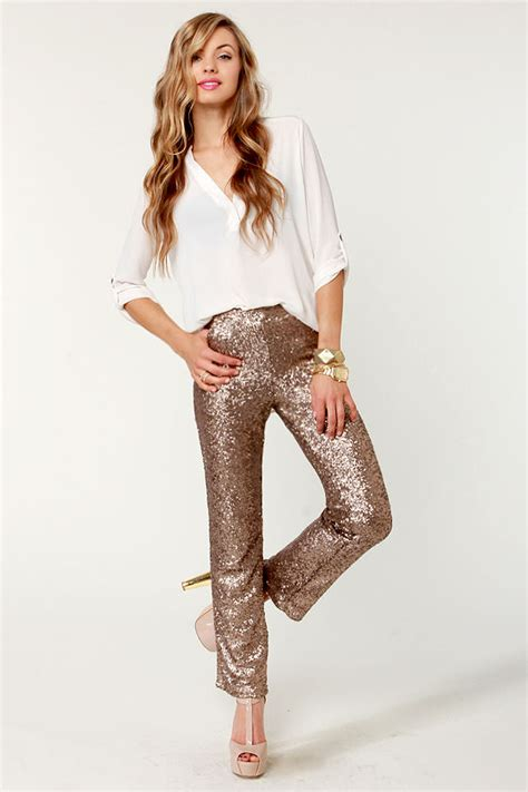 glittering bronze pants sequin pants brown pants