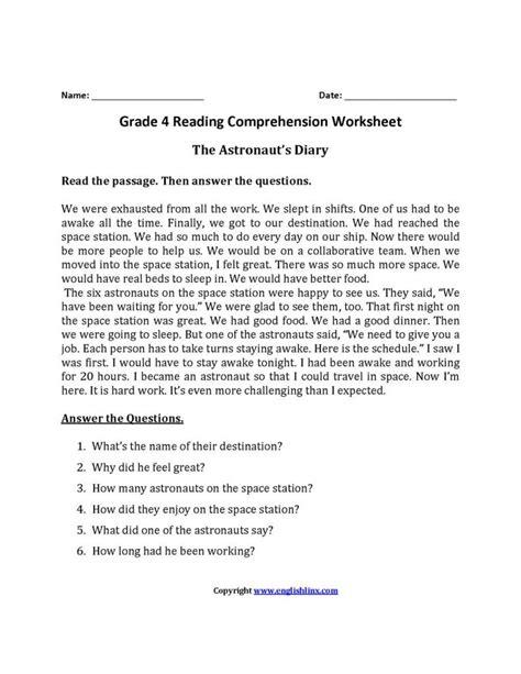 free worksheets for 3rd grade reading comprehension or