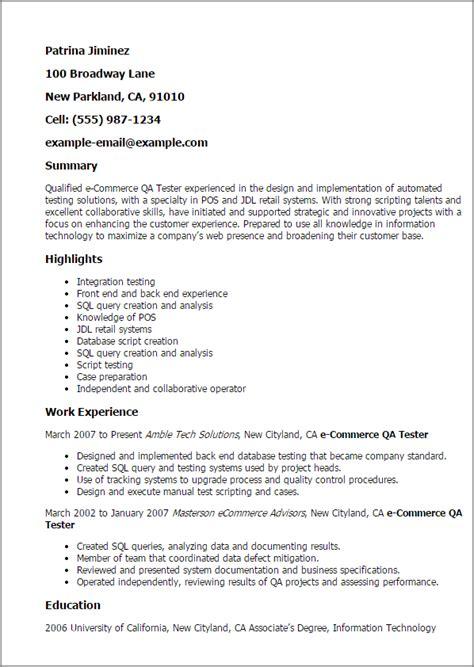 professional ecommerce qa tester templates to showcase