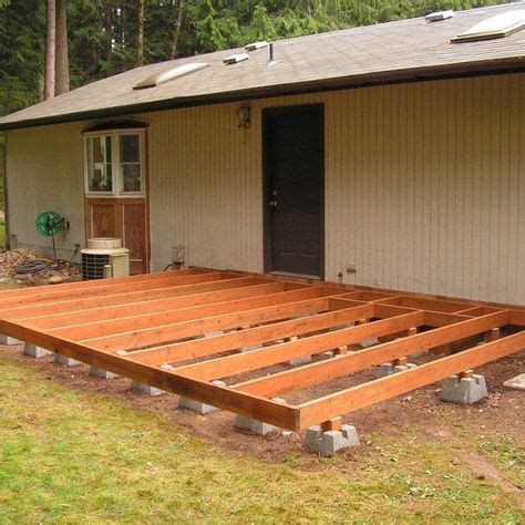 build  deck  deck blocks backyard wood patio floating deck   level ground
