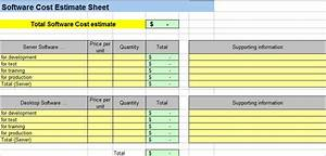 Project cost estimating spreadsheet for Software development cost estimation template