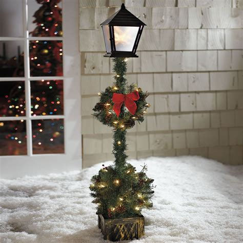 cordless  lamp post topiary outdoor christmas decor