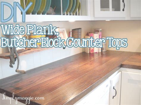 diy wide plank butcher block counter tops simplymaggie diy wood plank countertops