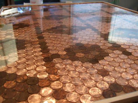 unique kitchen backsplash  pennies