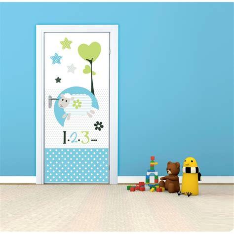 stickers porte chambre sticker de porte repositionnable chambre enfant bleu
