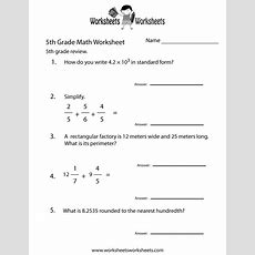 5th Grade Math Review Worksheet  Free Printable Educational Worksheet