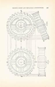 Original 1885 Technical Drawing - Gears