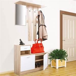 Miroir D Entrée : vestiaire d 39 entr e avec miroir design h tre portes blanches meuble ~ Teatrodelosmanantiales.com Idées de Décoration