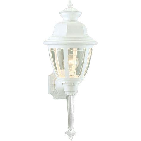 progress lighting 1 light white outdoor wall lantern sconce p5738 30 the home depot