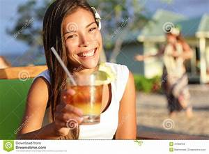Woman Drinking Alcohol Mai Tai Drink On Hawaii Stock Photo ...