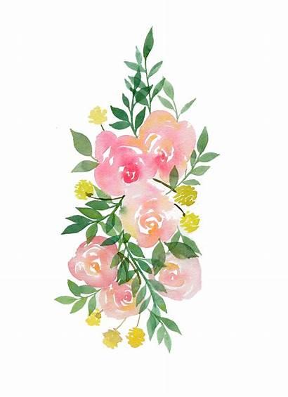 Watercolor Flower Flowers Bouquet Transparent Clipart Garland