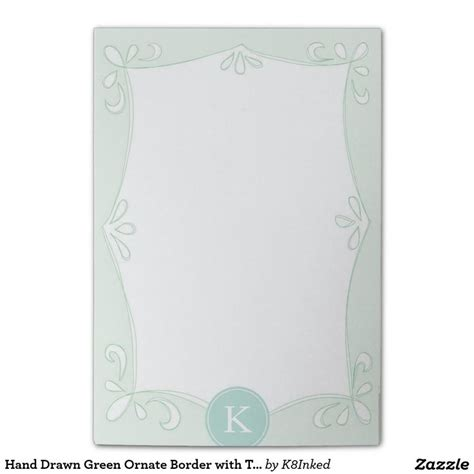 hand drawn green ornate border  teal monogram