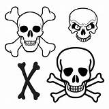 Pirate Skull Printable Crossbones Template Hat Hats Paper Halloween Stencil Stencils Coloring Ship Costume Pirates Piraten Pumpkin Bones Templates Cross sketch template