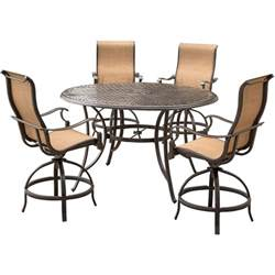 agio somerset 5 piece aluminum round outdoor bar height