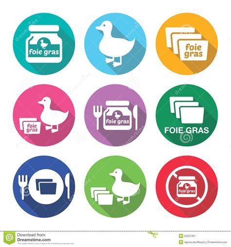 cuisine foie gras foie gras duck or goose flat design icons set stock