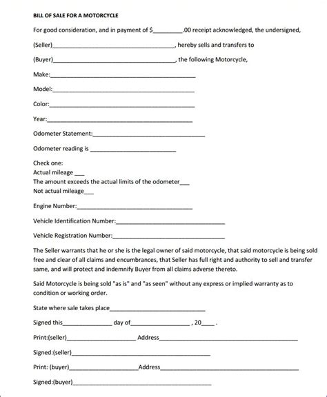 Mass Dept Of Boat Registration by Free Massachusetts Motorcycle Bill Of Sale Form
