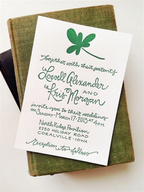 kris lowells st patricks day wedding invitations