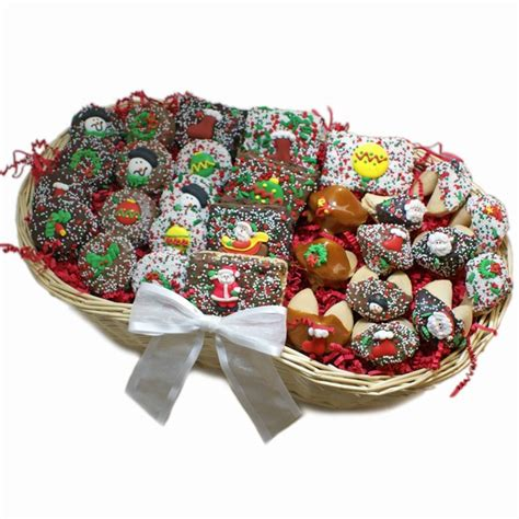 chocolate christmas dessert gift basket cookie bouquets