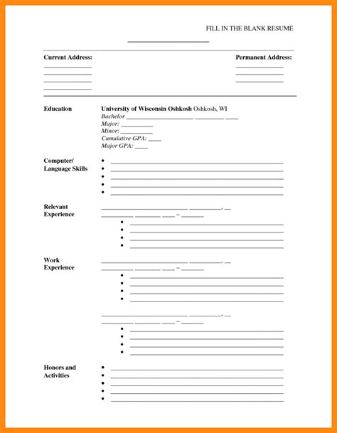 Free Printable Resume Templates by Printable Cv Template Blank Resume Templates Template 7