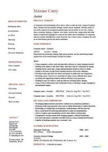 Resumesart Resumes by Artist Resume Artistic Drawing Exle Templates