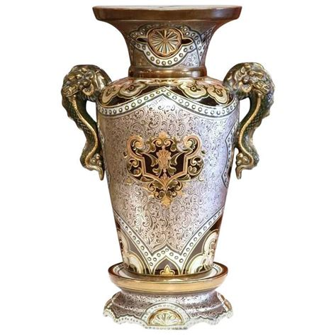 Gold And Silver Vase by Large 19th Century Painted Silver And Gold