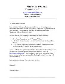 Welding Resume Cover Letter by Mike Contract Welder Coverletter May 2015
