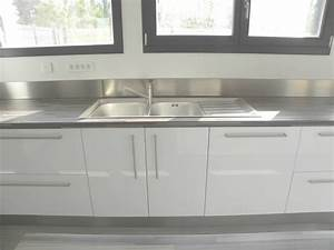 Meuble Cuisine Blanc : meuble cuisine blanc laqu coin de la maison ~ Edinachiropracticcenter.com Idées de Décoration