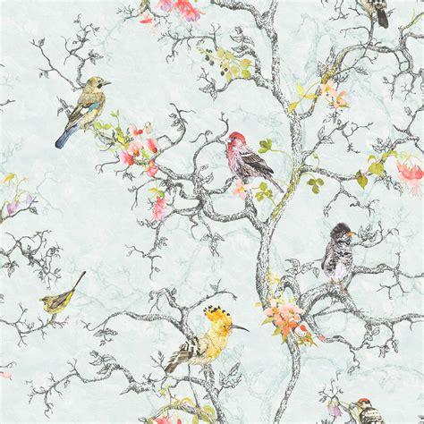 cath kidston flowers mini statement ornithology blue birds wallpaper departments