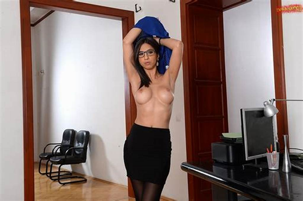 #Julia #De #Lucia #In #Sexy #Dress #And #Black #Stockings #Strips #In