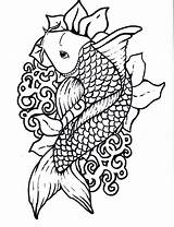 Fish Koi Pond Drawing Coloring Getdrawings Pisces Adult Chinese sketch template