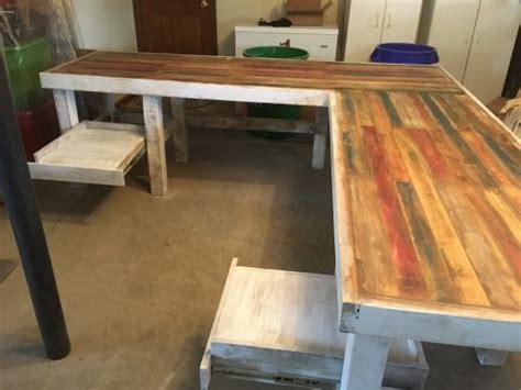 rustic  shaped desk shanty  chic