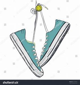Pair Blue Sneakers On White Background Stock Vector ...