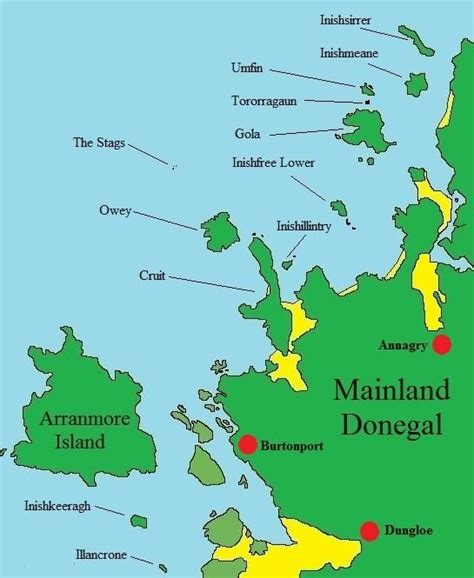 map  donegal islands ireland donegal islands