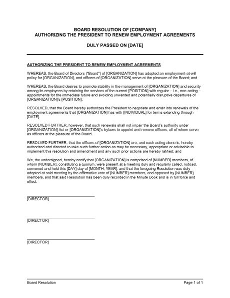 Board Resolution Authorizing the President to Renew Employment Agreements Template – Word & PDF