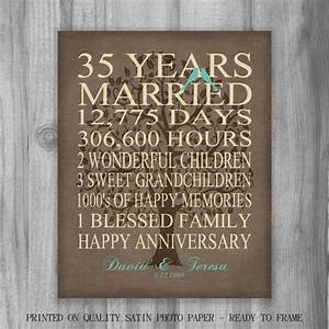 35th year anniversary gift rustic burlap look personalized With what is gift for 35th wedding anniversary