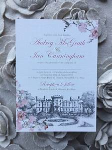 venue illustration invitations markree castle weddi with With wedding invitations venue address