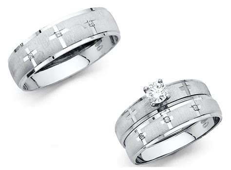 solid white gold cross wedding band bridal solitaire