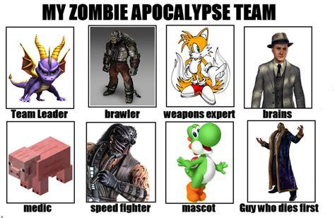 Zombie Team Meme - my zat alt 2 my zombie apocalypse team know your meme