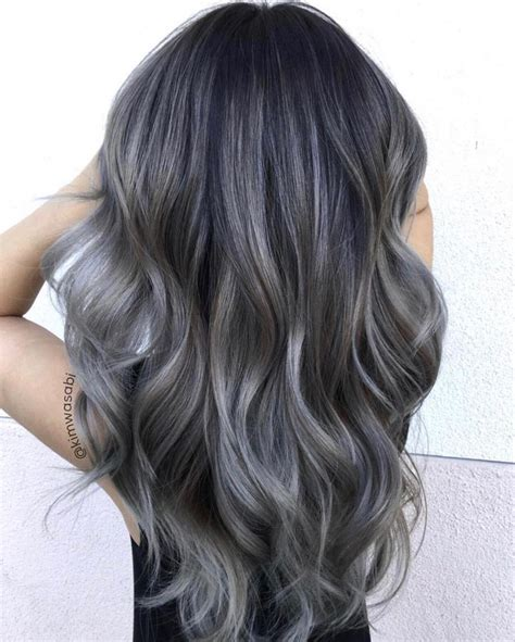 color hair gray ash grey balayage balayage ombre colorful in 2019